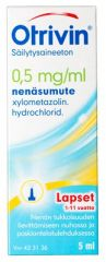 OTRIVIN SÄILYTYSAINEETON 0,5 mg/ml nenäsumute, liuos 5 ml